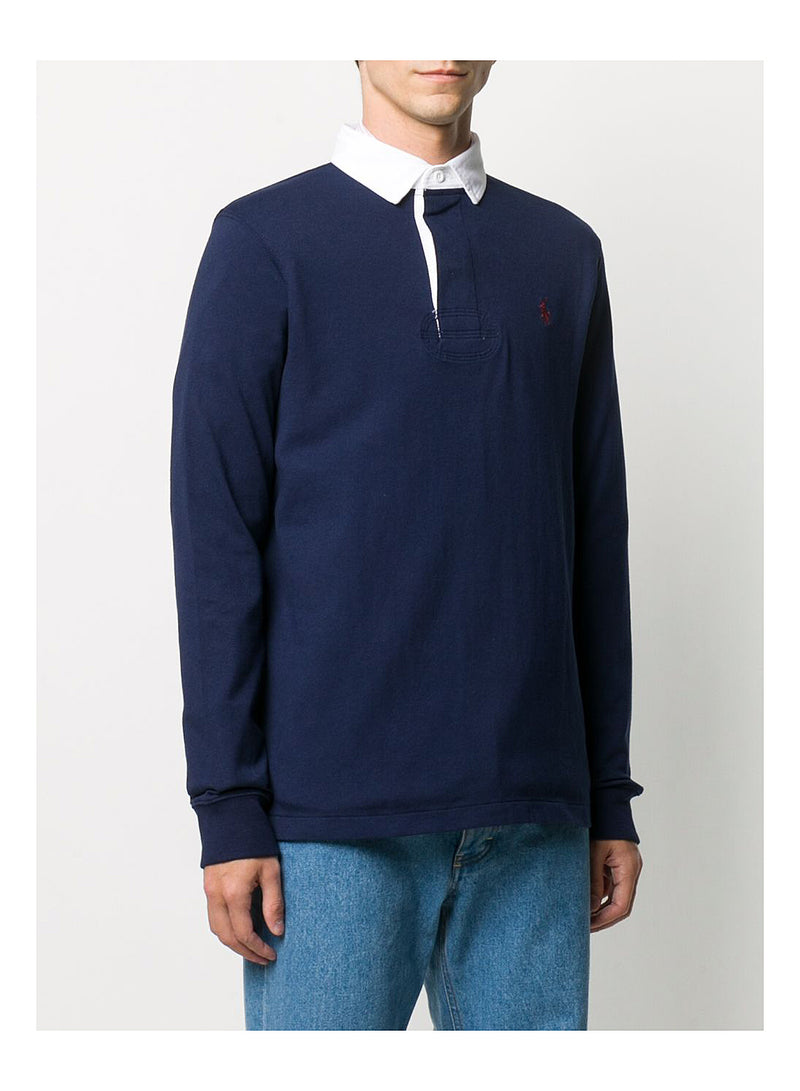 Contrast Collar Long Sleeve Polo Shirt - Navy