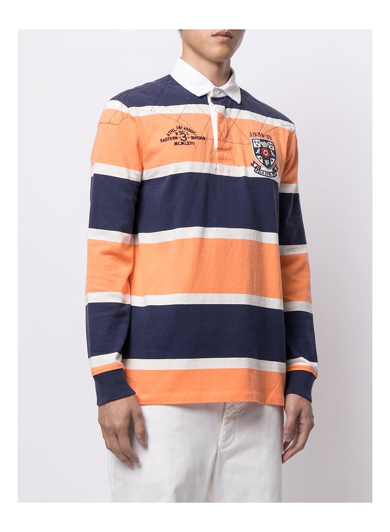Long Sleeve Polo Shirt - Orange/White/Navy