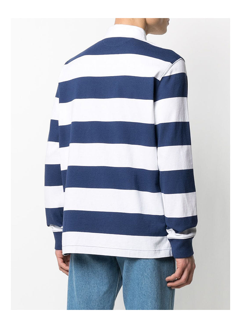 Striped Long Sleeve Polo Shirt - White/Navy