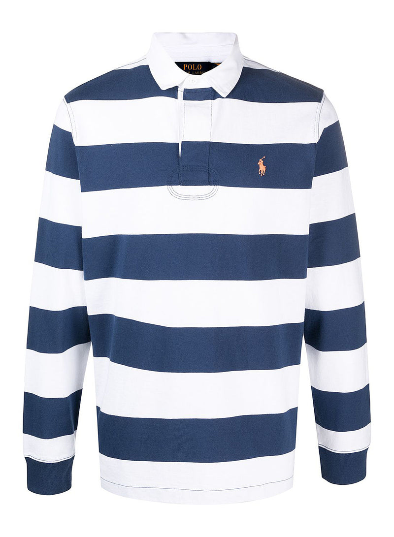 ralph lauren polo striped long sleeve polo shirt white navy ss 2021