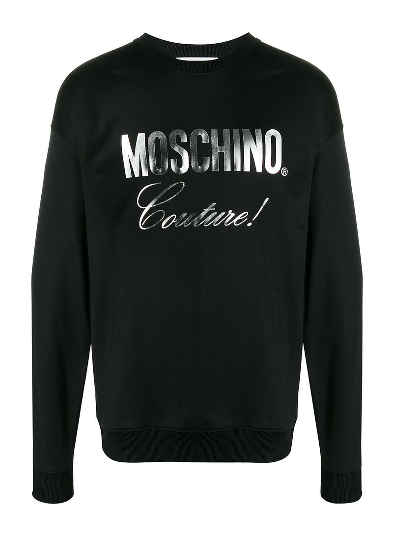 Silver Couture Print Sweatshirt - Black