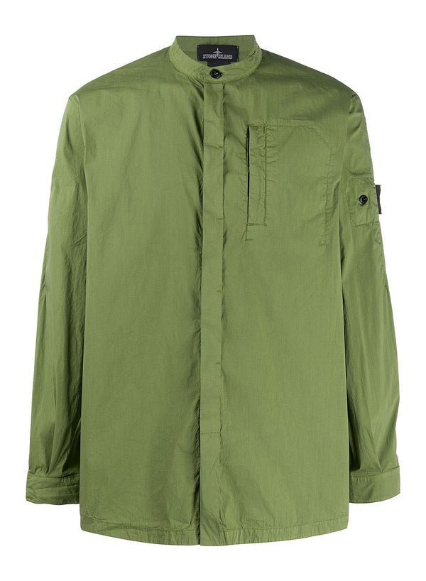 stone island shadow project grandad collar shirt olive ss 2020