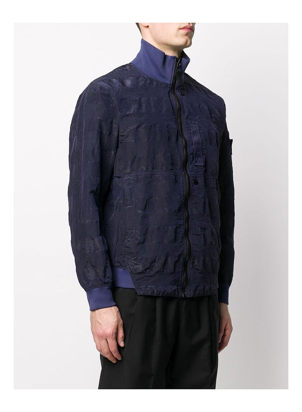 Striped Nylon Metal Jacket - Navy