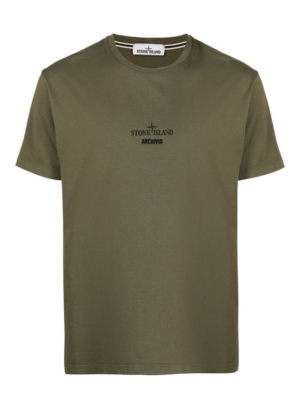 stone island archivio central logo tee olive ss 2021