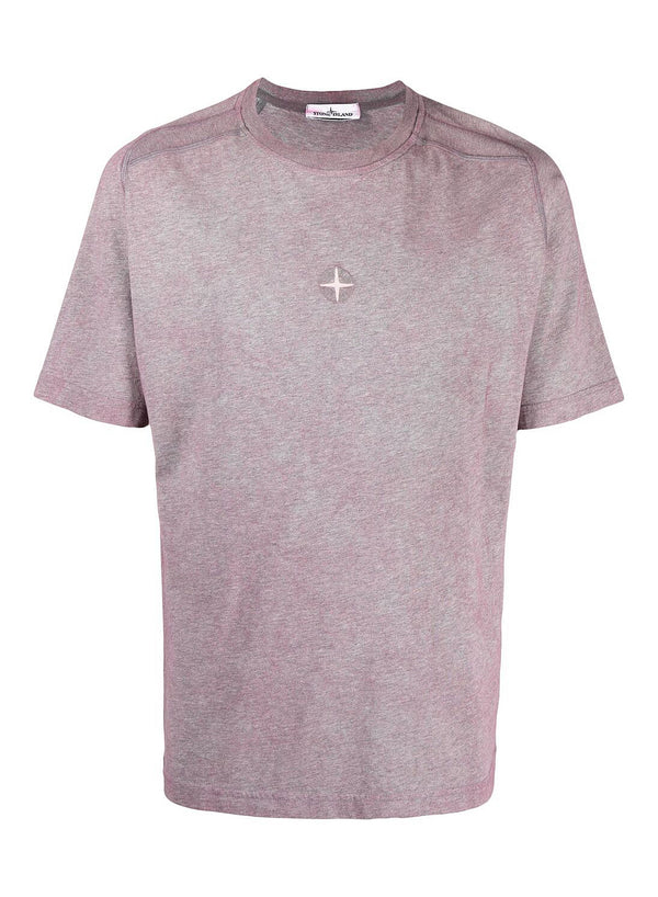 stone island central chest patch tee melange rose quartz ss 2021