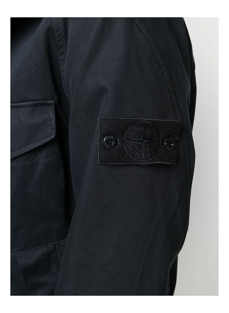 Hooded Raso Gommato Double Ghost Piece Jacket - Navy