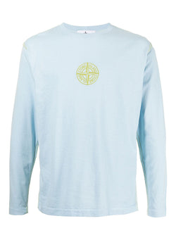 stone island long sleeve central logo tee sky blue ss 2021