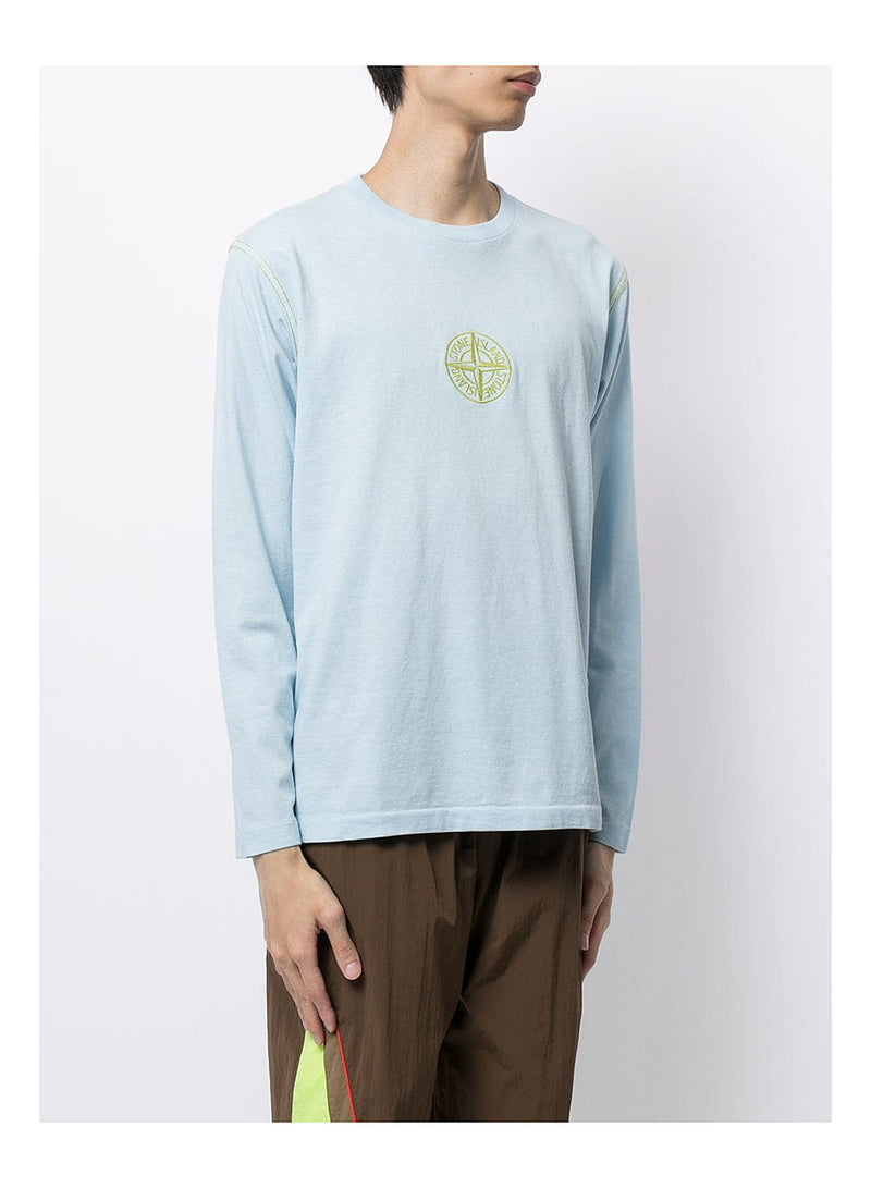 Long Sleeve Central Logo Tee - Sky Blue