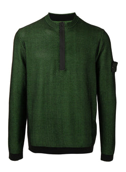 stone island shadow project light mesh half zip knit black green ss 2021