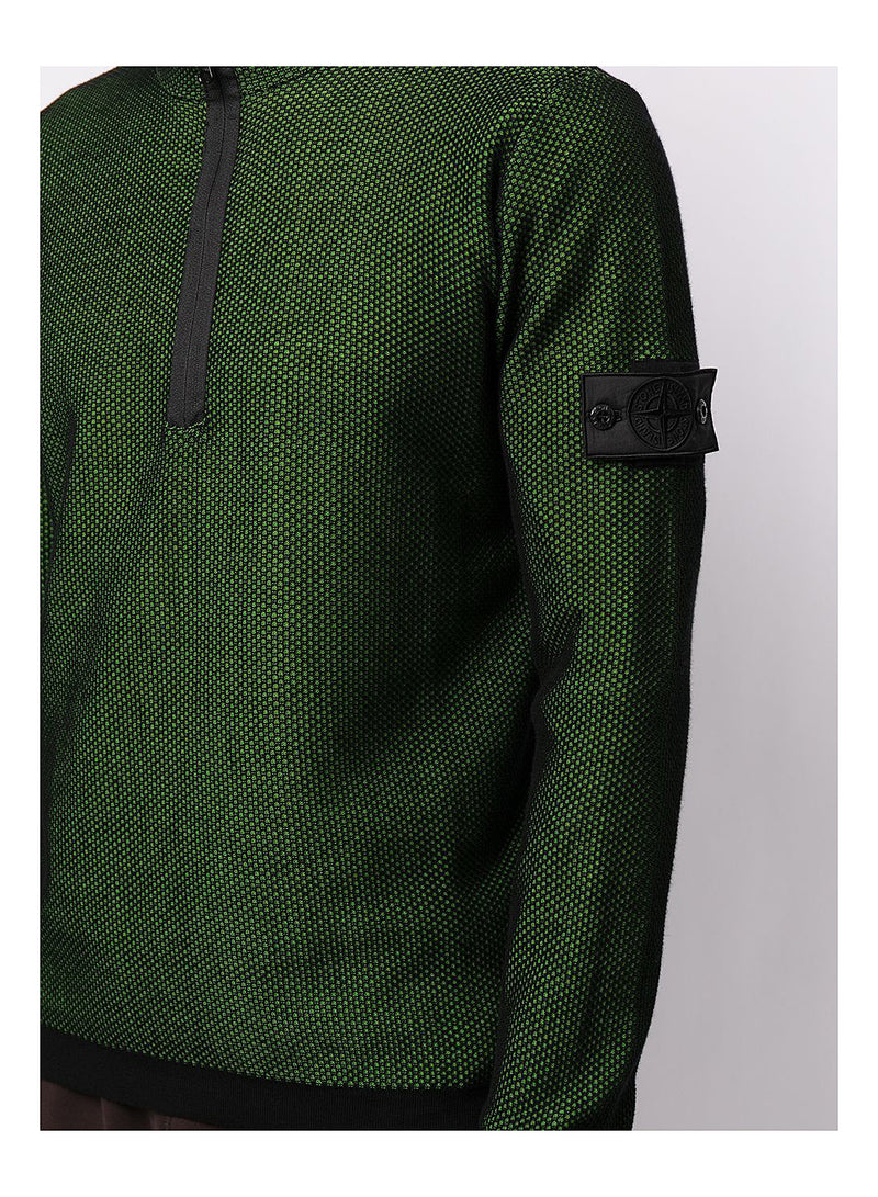 Light Mesh Half Zip Knit - Black/Green
