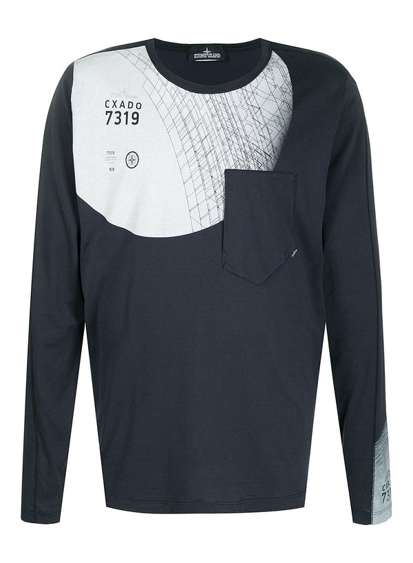 stone island shadow project long sleeve graphic tee indigo aw 2020