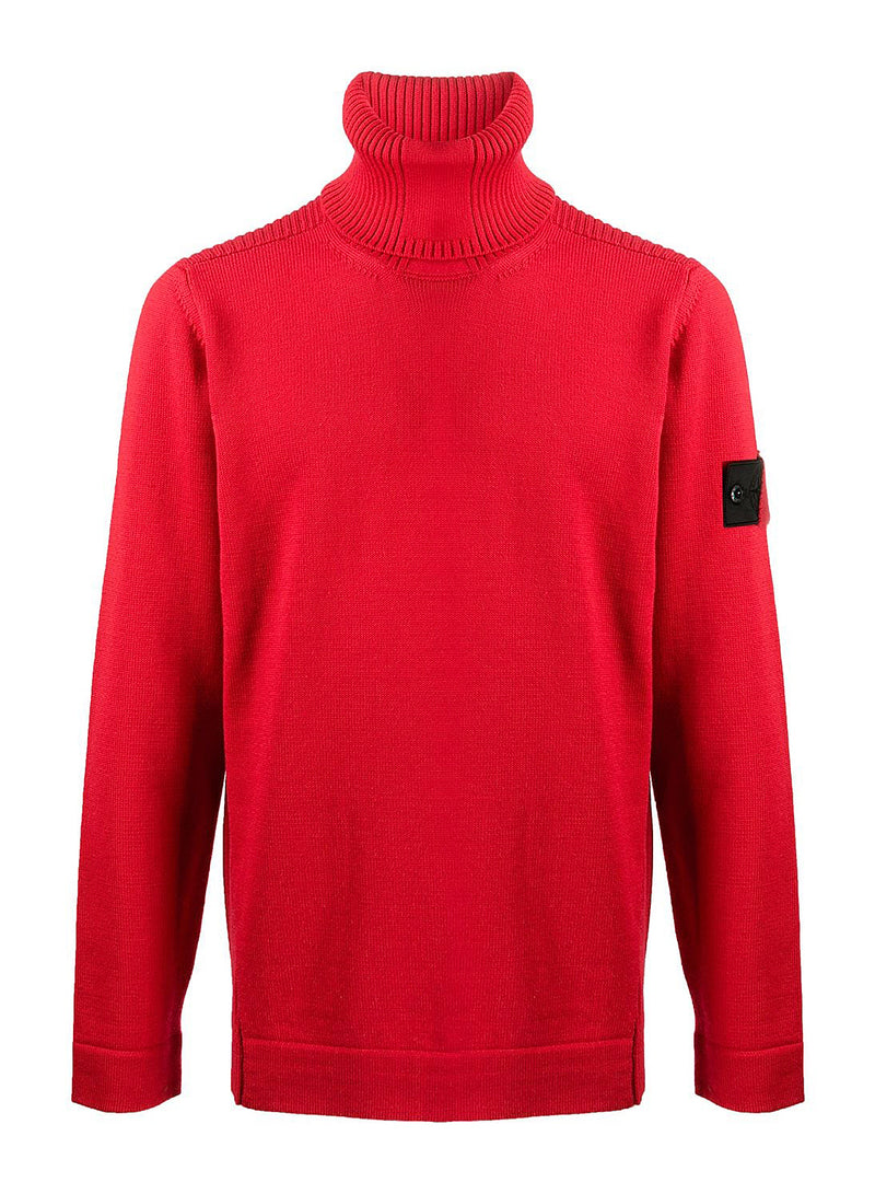 stone island shadow project roll neck knit jumper red aw 2020