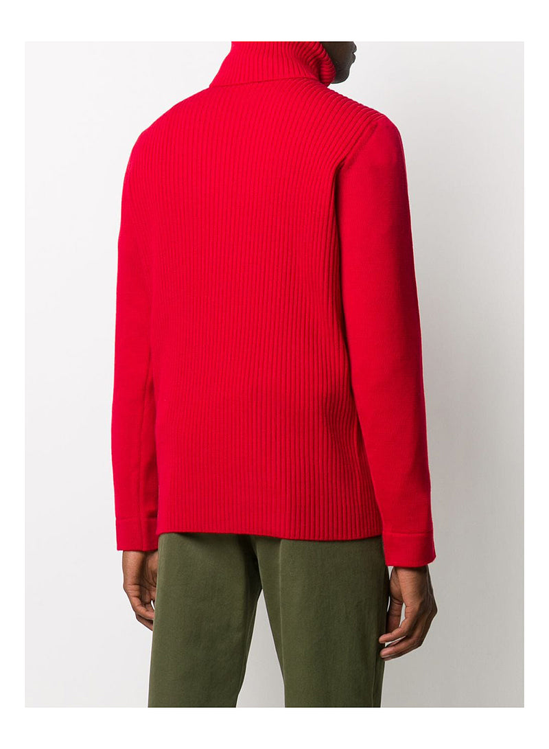 Roll Neck Knit Jumper - Red