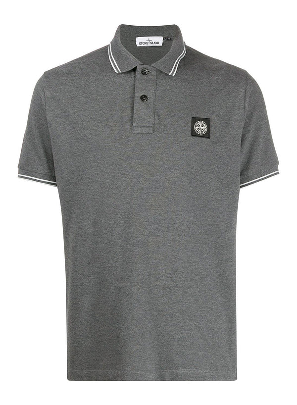 stone island small logo polo shirt melange dark grey ss 2020