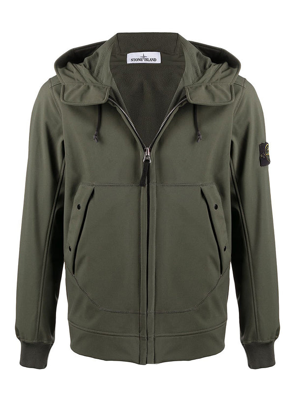 stone island soft shell hooded jacket musk aw 2020