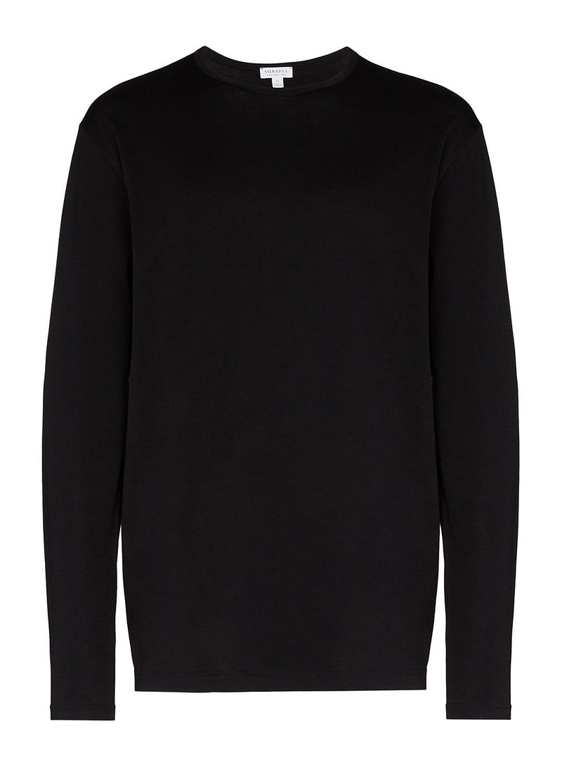 sunspel long sleeve crew neck tee black aw 2020