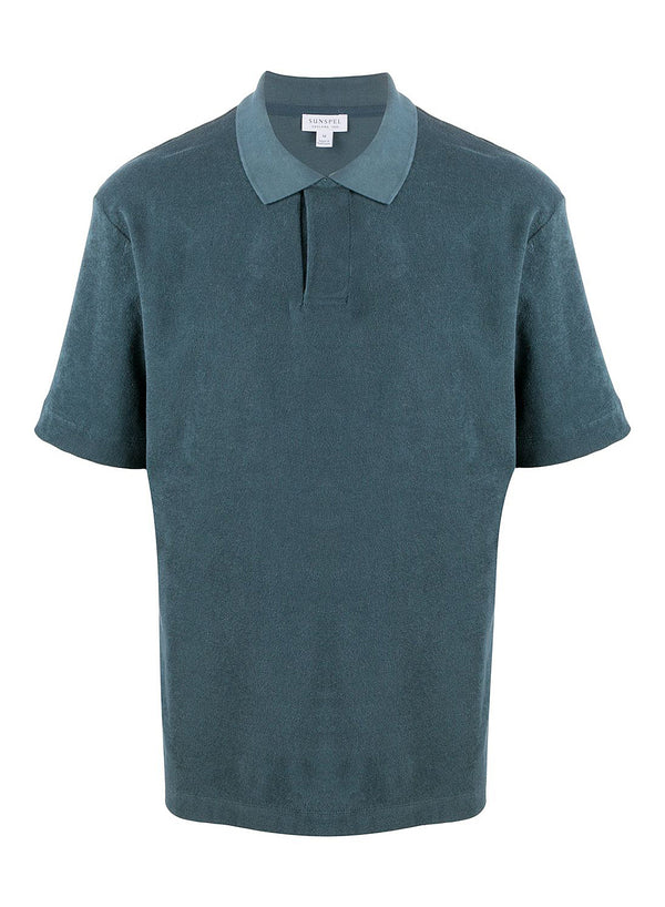 sunspel short sleeve terry polo dark petrol ss 2020