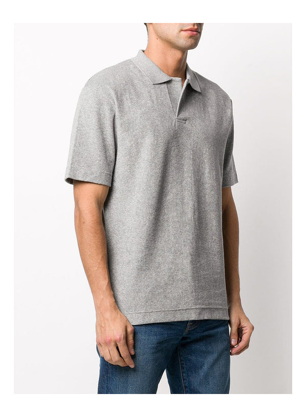 Short Sleeve Terry Polo - Grey Melange