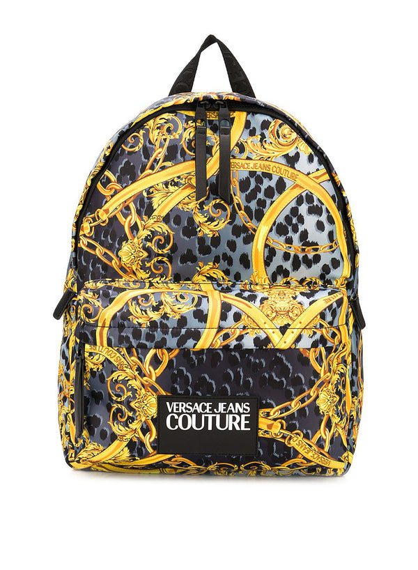 versace jeans all over leopard print backpack grey ss 2020