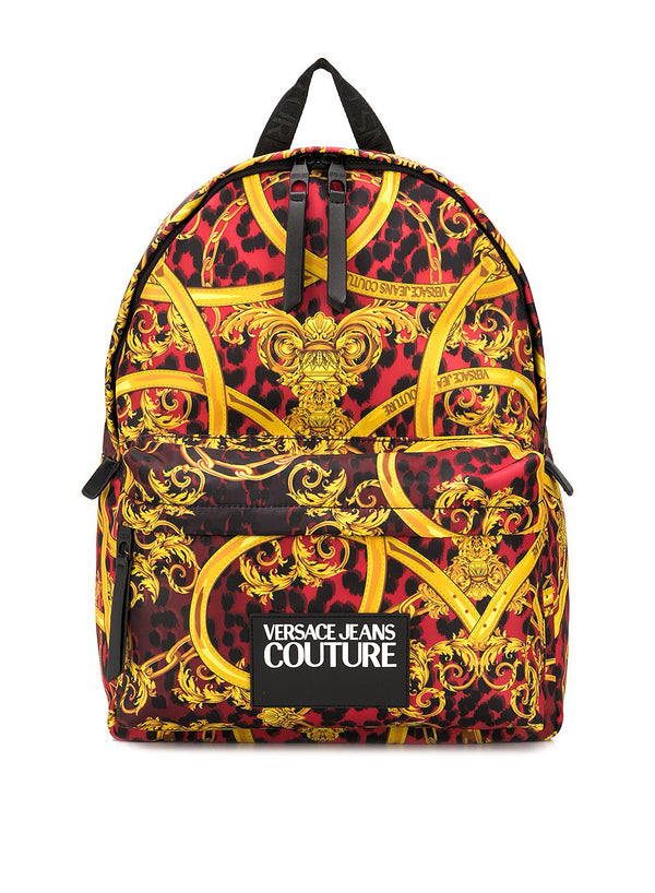versace jeans all over leopard print backpack red ss 2020