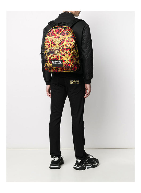 All Over Leopard Print Backpack - Red