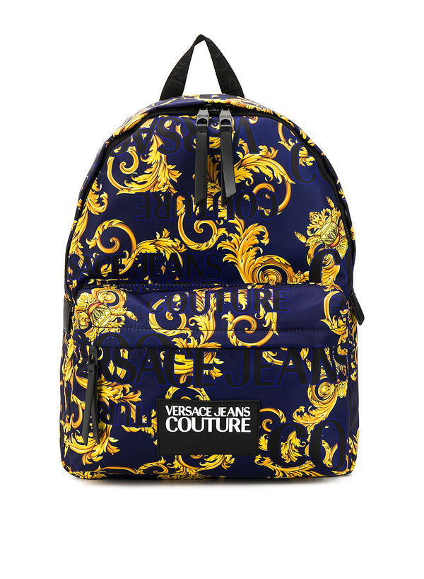 versace jeans all over logo print backpack aviator blue ss 2020