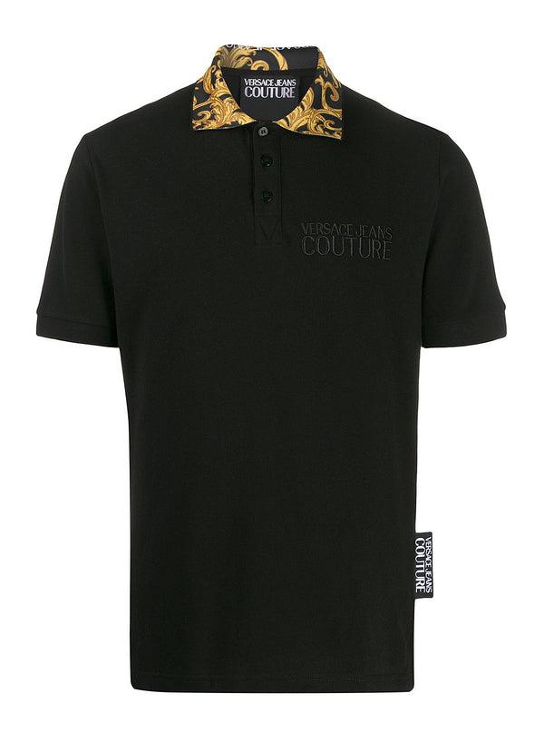 versace jeans baroque collar polo shirt black gold ss 2020