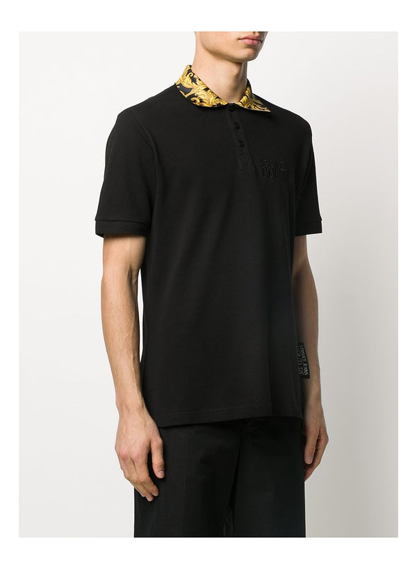 Baroque Collar Polo Shirt - Black/Gold