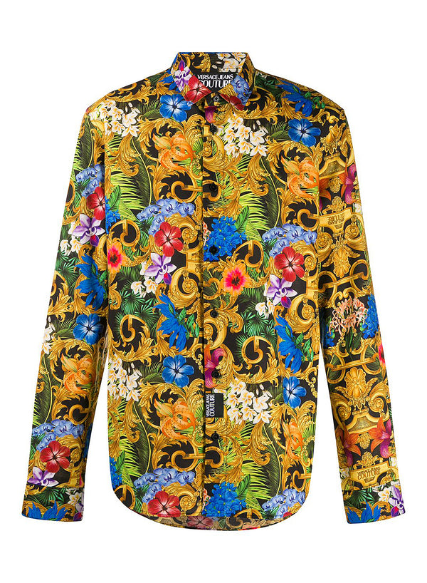versace jeans floral and baroque print shirt all over print ss 2020