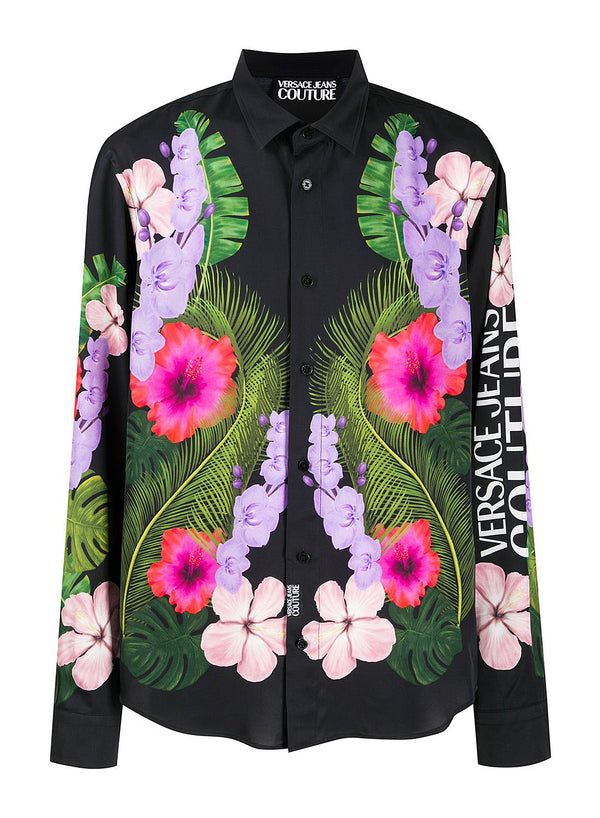 versace jeans floral long sleeve shirt hawaiian print ss 2020
