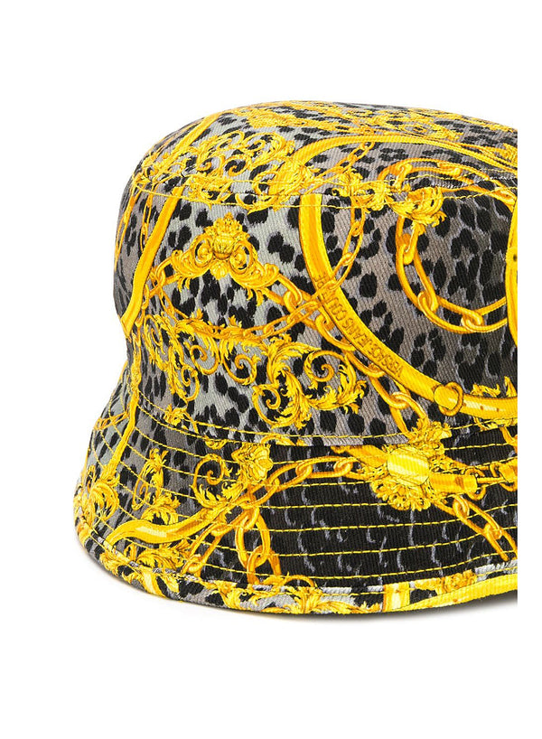 Leopard and Baroque Bucket Hat - Grey