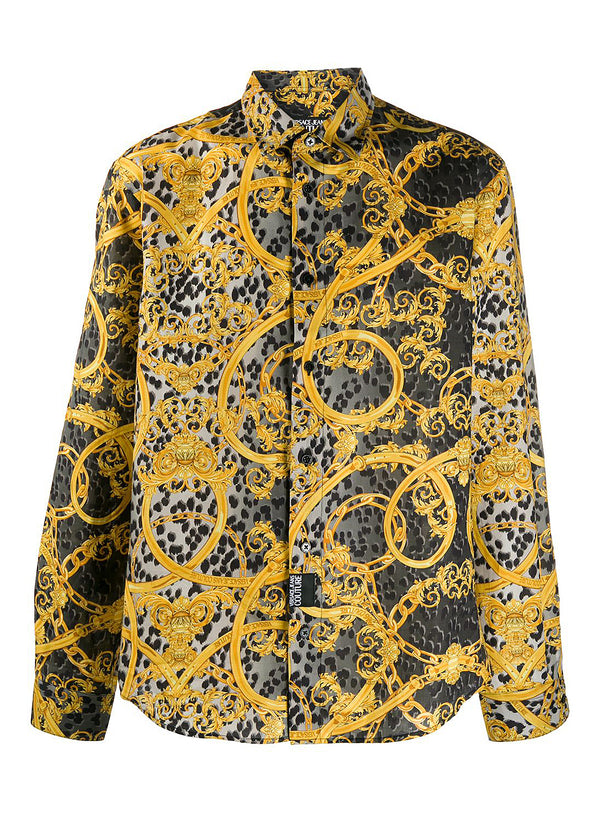 versace jeans leopard and baroque print shirt black ss 2020
