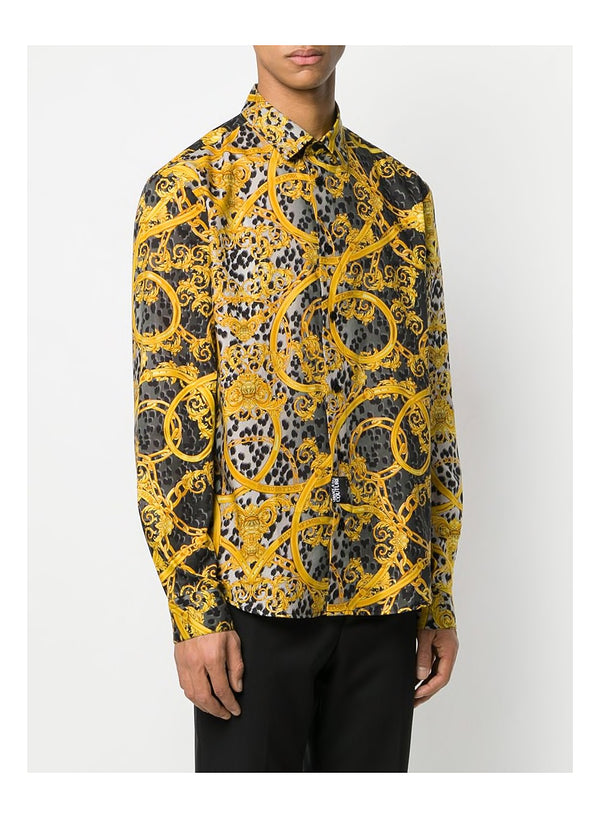 Leopard and Baroque Print Shirt - Black