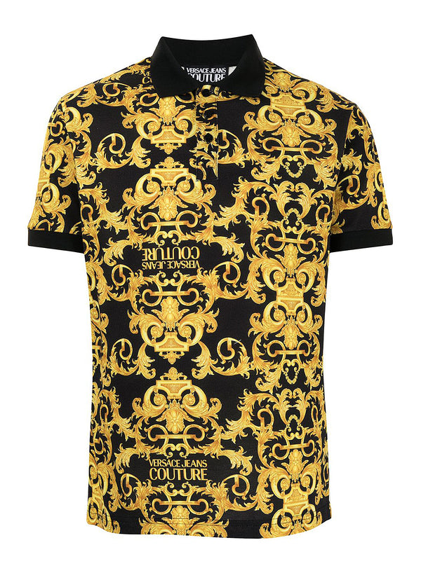 versace jeans couture all over baroque polo shirt black baroque ss 2021