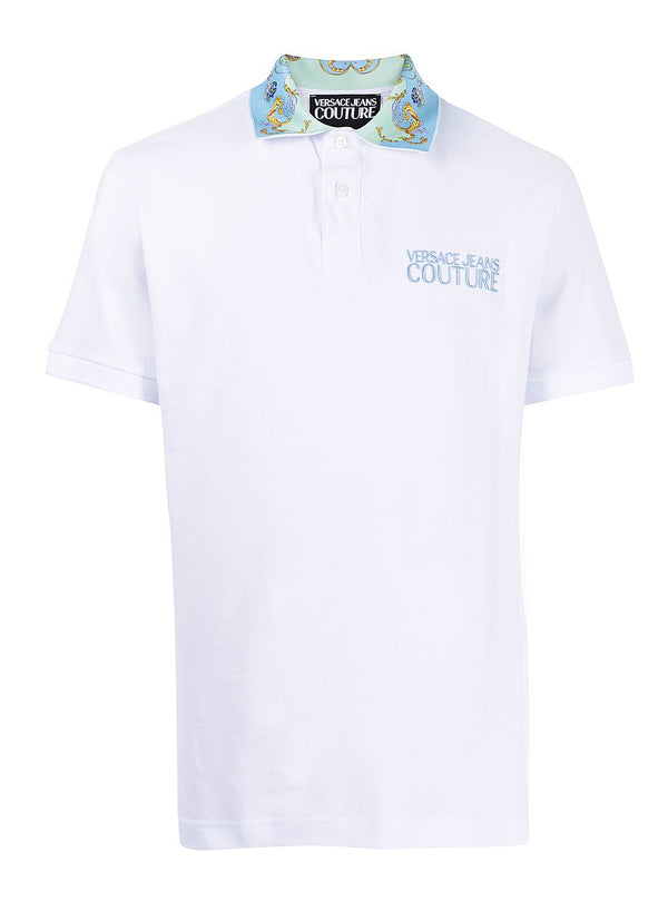 versace jeans couture baroque collar polo shirt white ss 2021