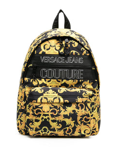versace jeans couture baroque print backpack black gold ss 2021
