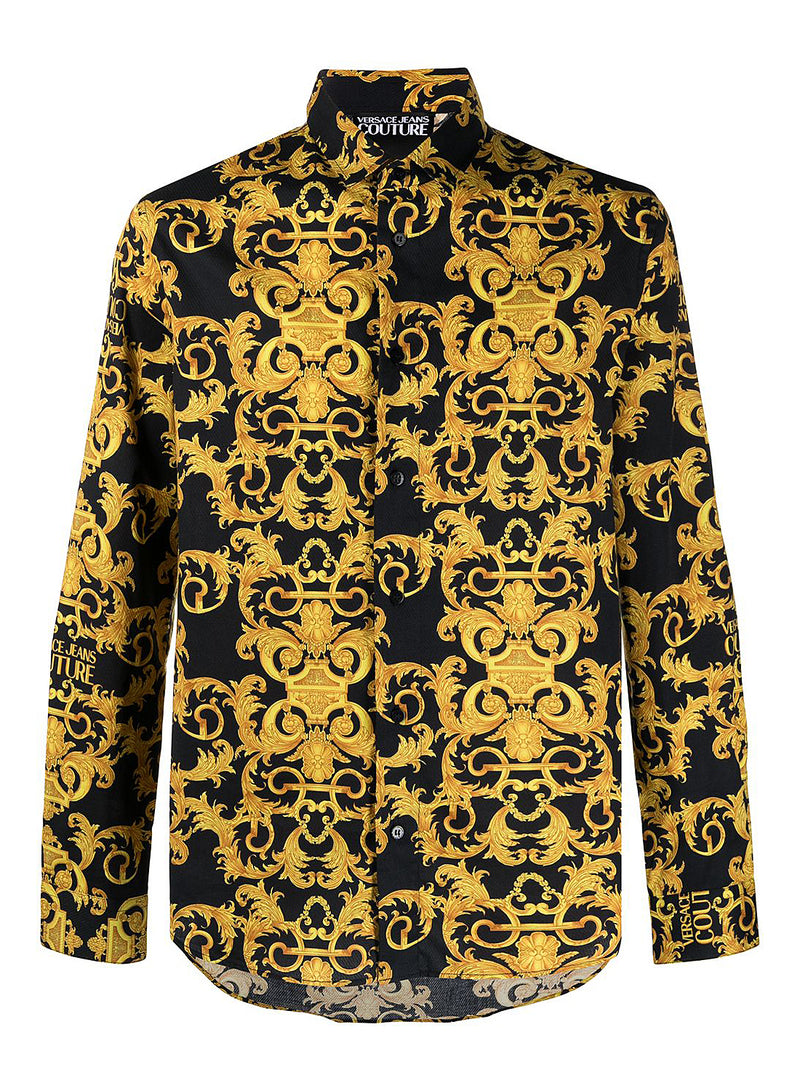 versace jeans couture baroque shirt black ss 2021