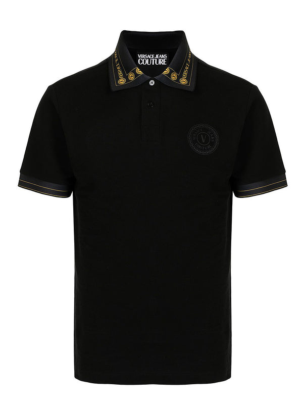 versace jeans couture branded collar polo black ss 2021