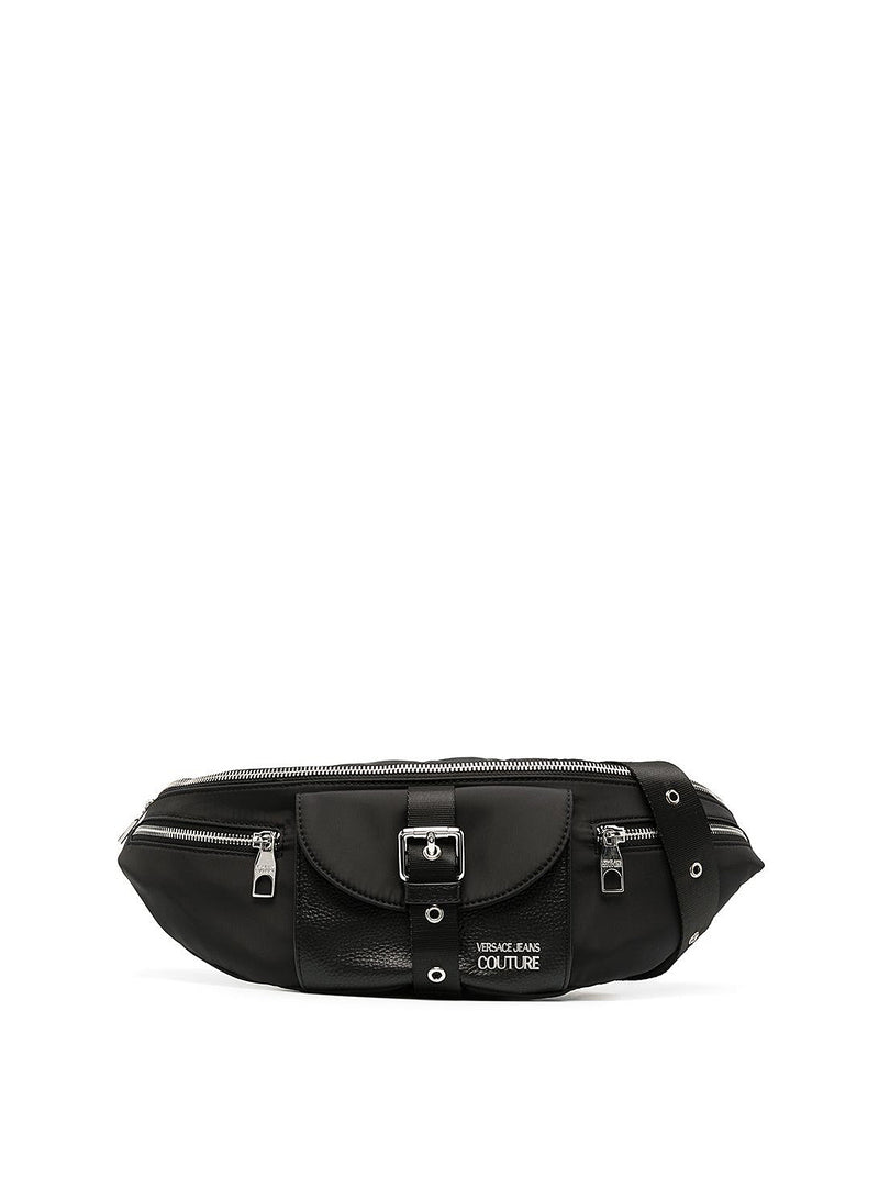 versace jeans couture leather detail bum bag black aw 2020
