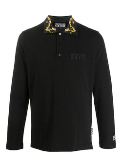 versace jeans couture long sleeve baroque collar polo shirt black aw 2020