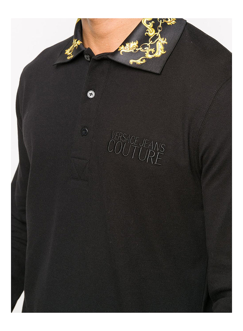 Long Sleeve Baroque Collar Polo Shirt - Black