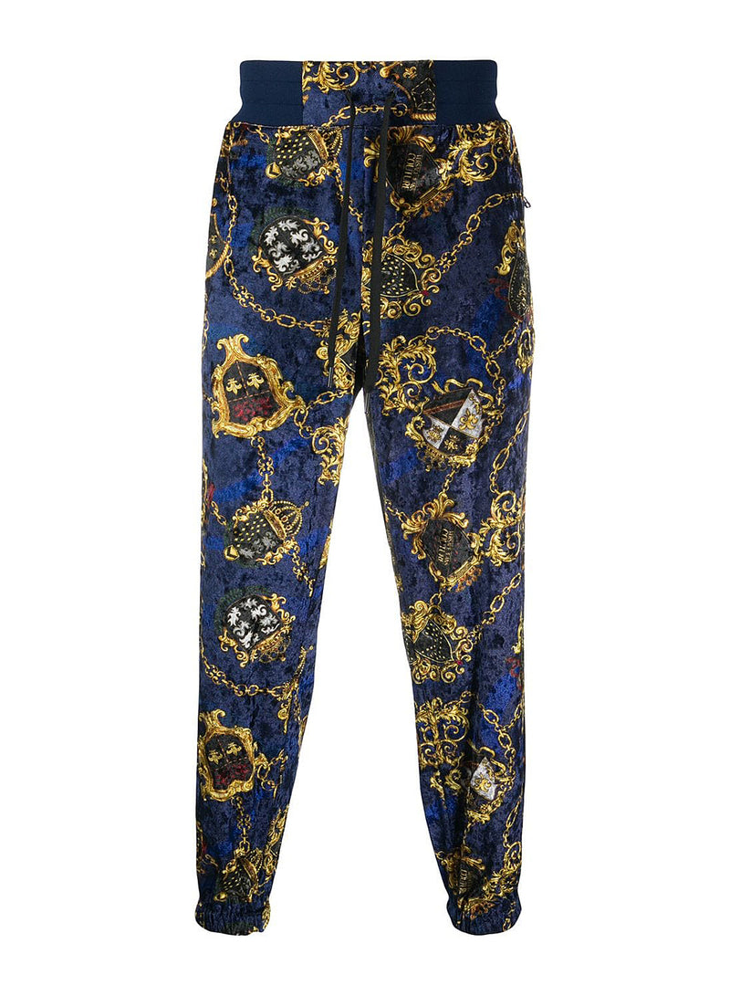 versace jeans couture velour track pants blue aw 2020
