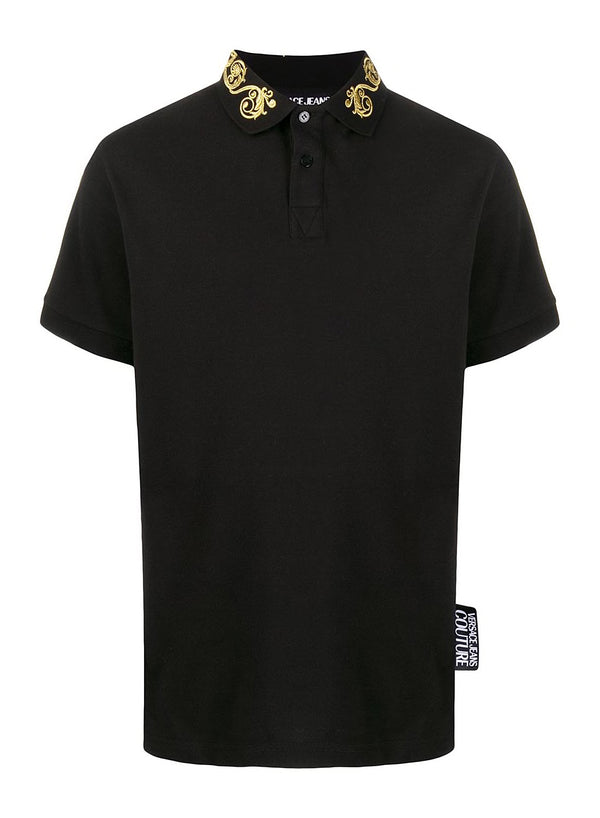 versace jeans embroidered baroque collar polo shirt black ss 2020