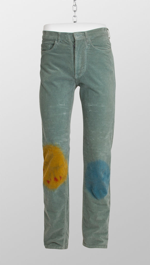 Vivienne Westwood Anglomania Paint Stained Moleskin Trousers – Green