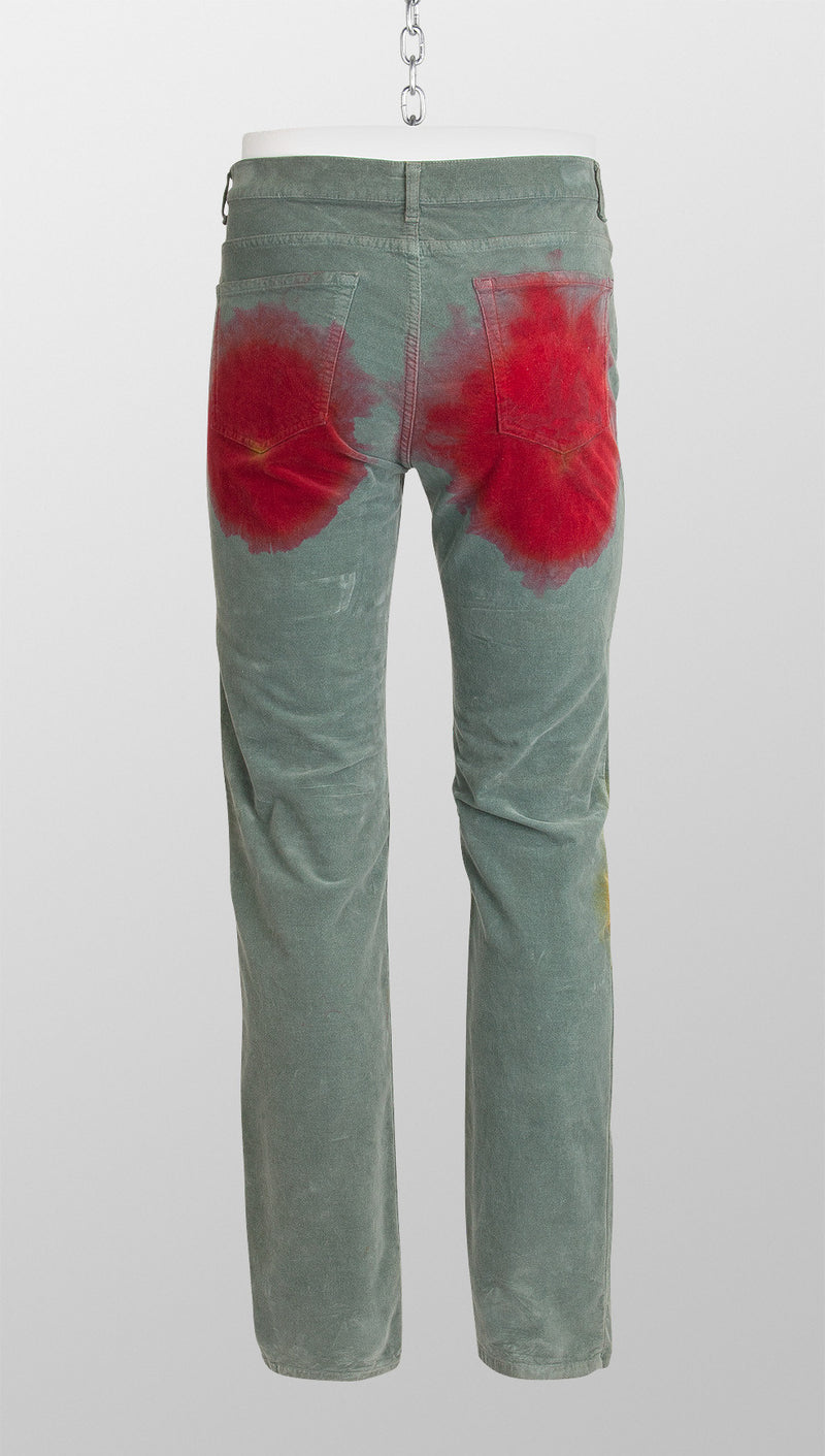 vivienne westwood anglomania paint stain trousers green back