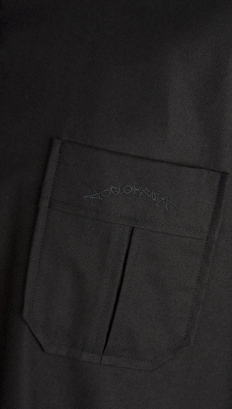 vivienne westwood anglomania rubber buttons shirt black chest pocket