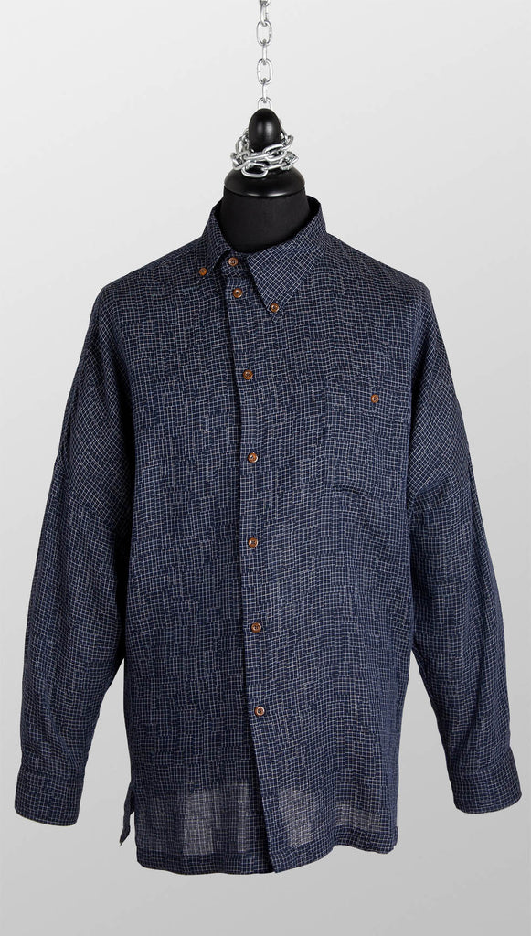 Vivienne Westwood MAN Asymmetric Check Shirt – Navy