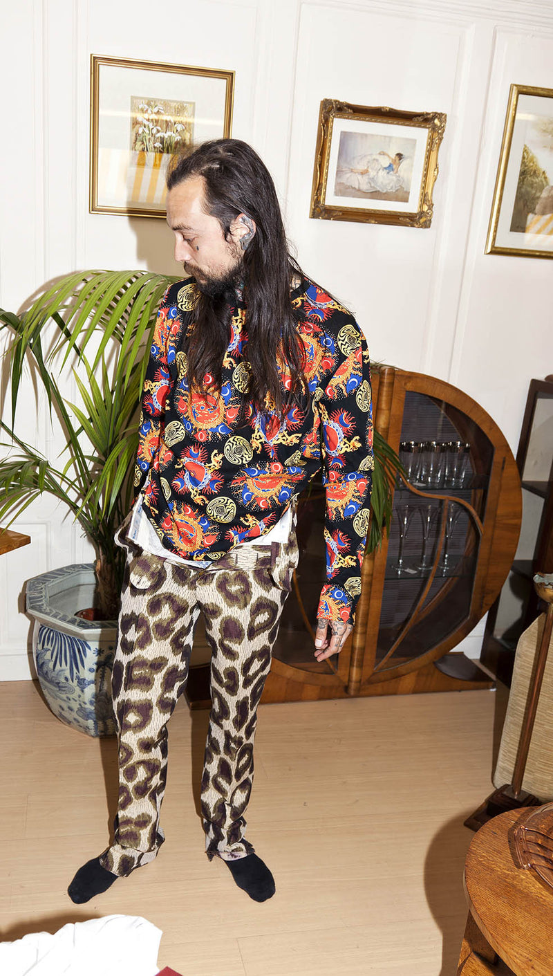 vivienne westwood man leopard spot trousers lookbook image