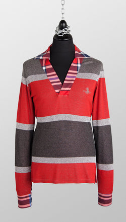 vivienne westwood man metallic knitted polo red stripe front