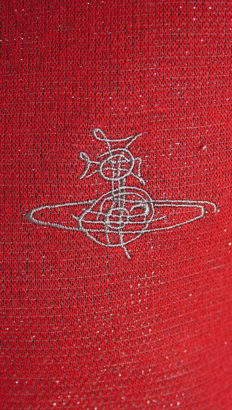 vivienne westwood man metallic knitted polo red stripe logo close up